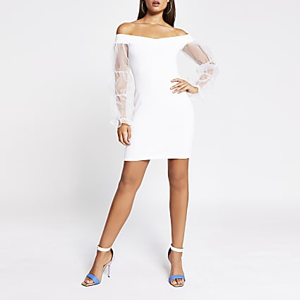 White organza puff sleeve bardot mini dress