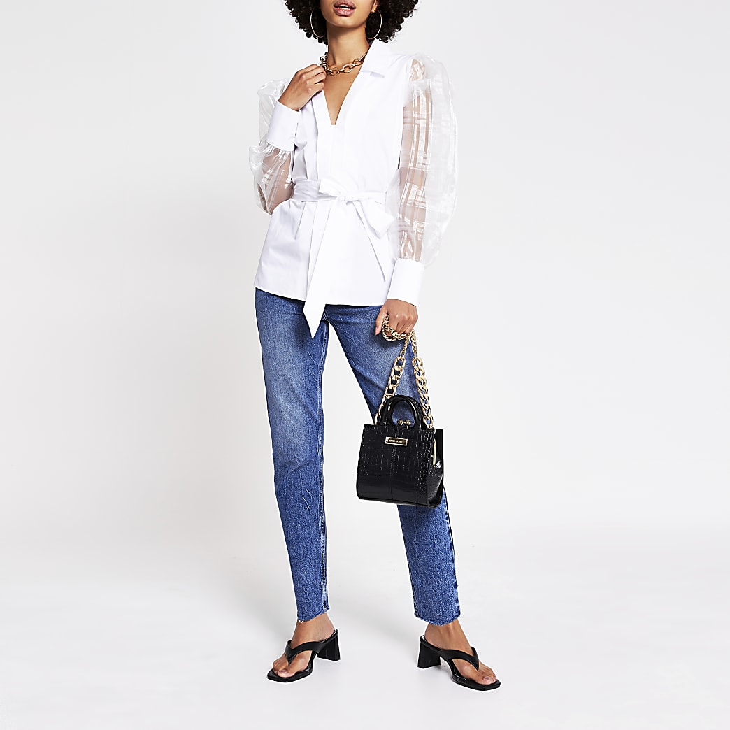 White organza puff sleeve poplin shirt