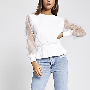 Gesmoktes Sweatshirt in Weiß mit langen Organza-Ärmeln