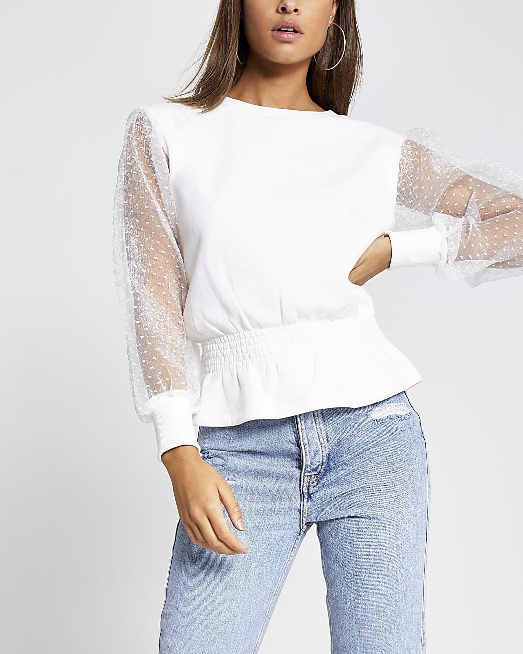 White organza sleeve shirred sweatshirt