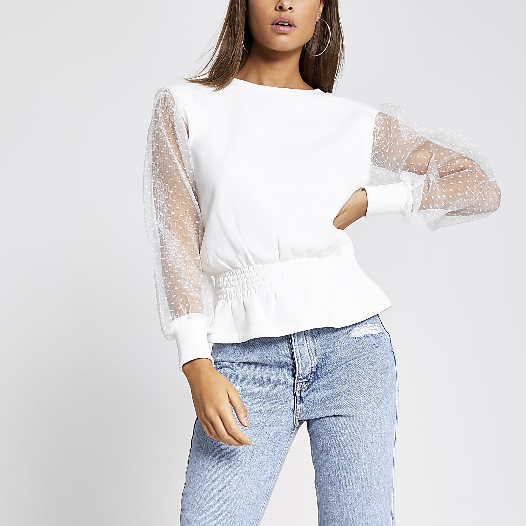 White organza sleeve shirred sweatshirt