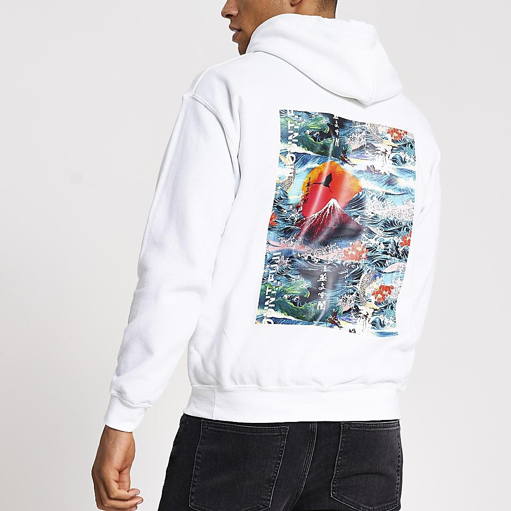 White 'Oriental' printed regular fit hoodie