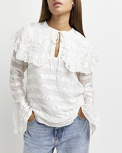 White oversized collar blouse