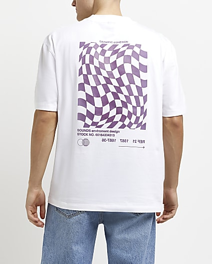 White oversized fit check graphic t-shirt