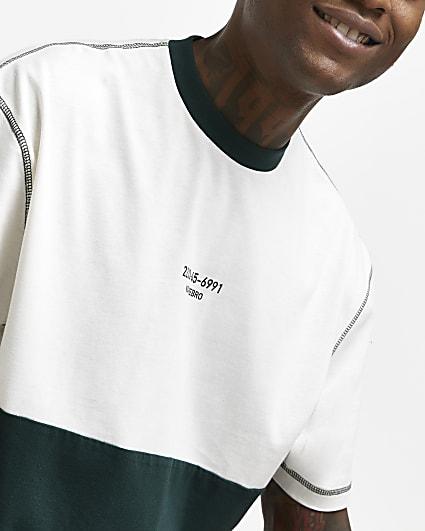 White oversized fit colour block t-shirt