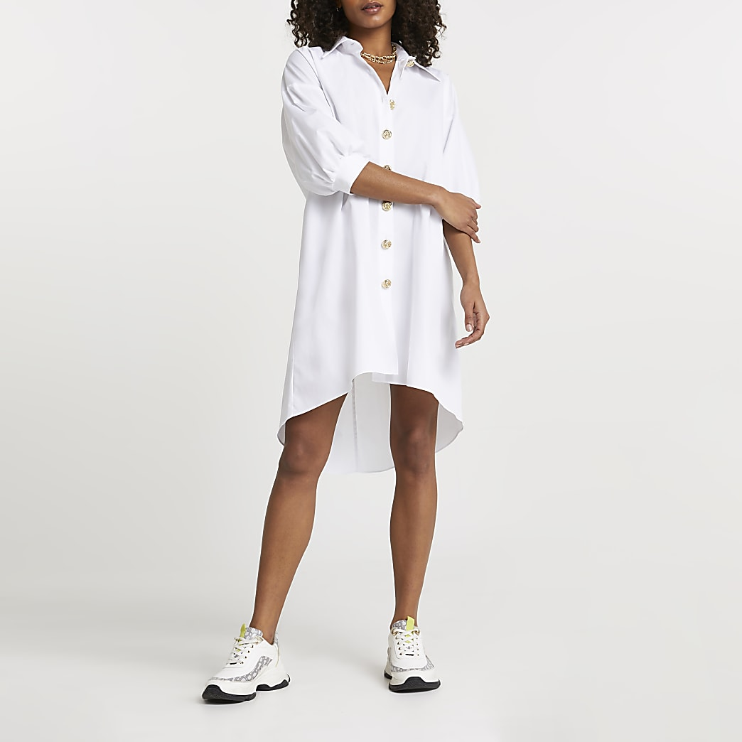 White oversized gold button shirt dress