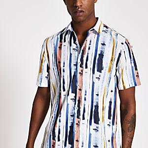 Wit slim-fit overhemd met gestreepte verf print