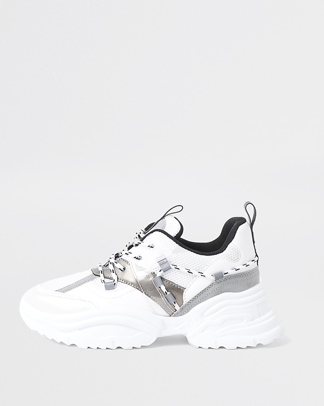 White panelled chunky lace up trainers