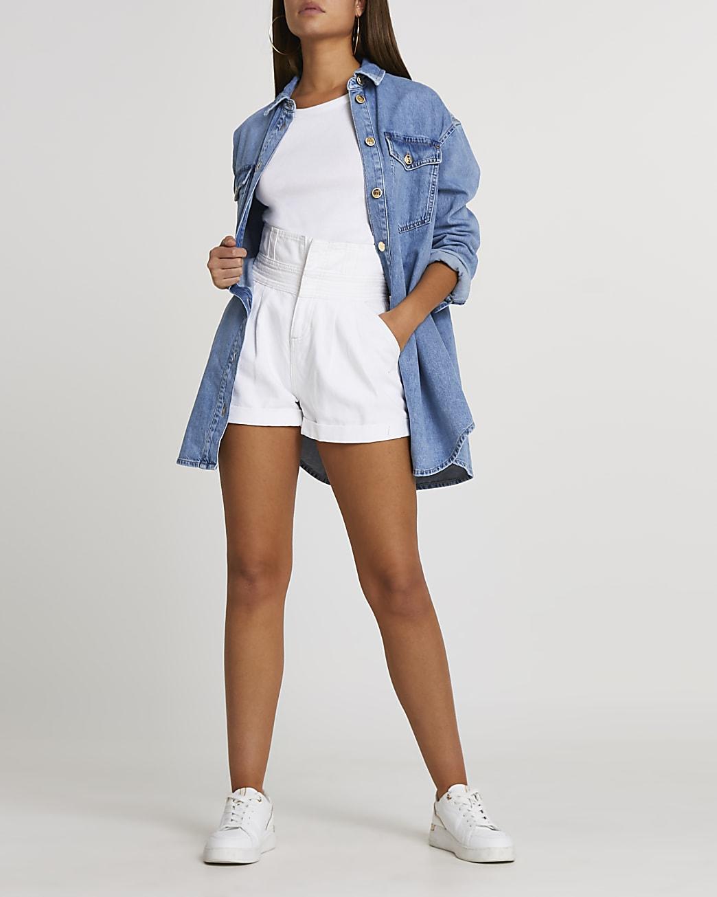 White paperbag belted denim shorts
