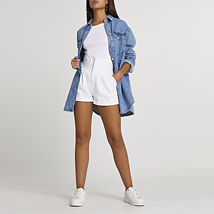 White paperbag belted denim shorts