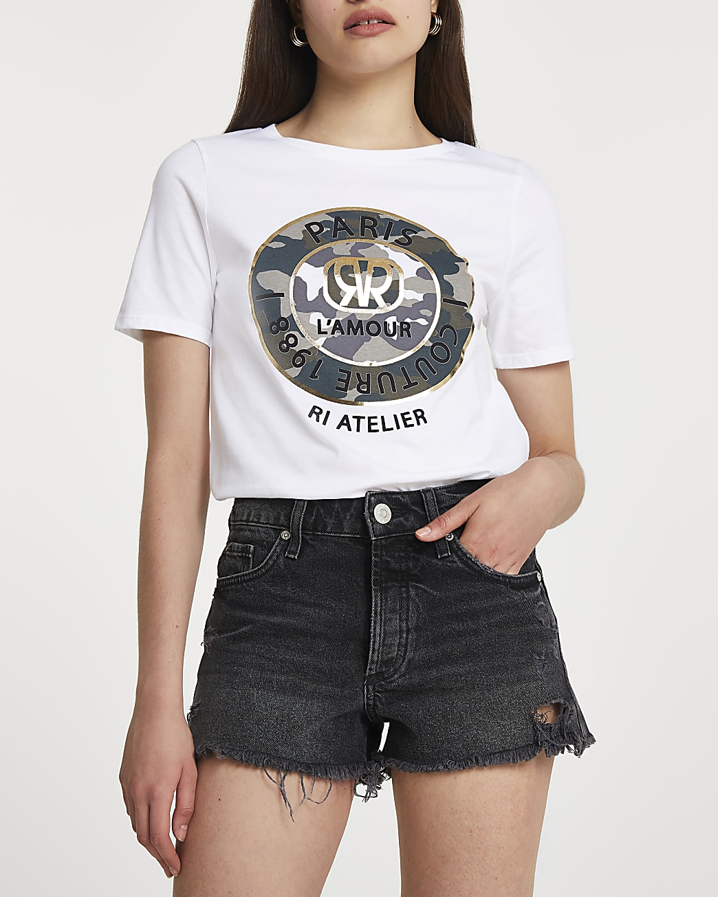 White 'Paris' camo short sleeve t-shirt