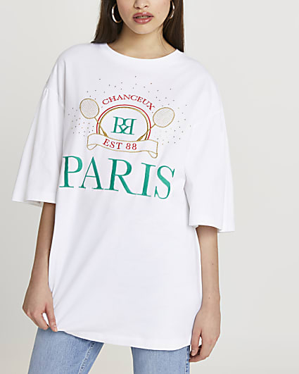 White 'Paris' oversized t-shirt