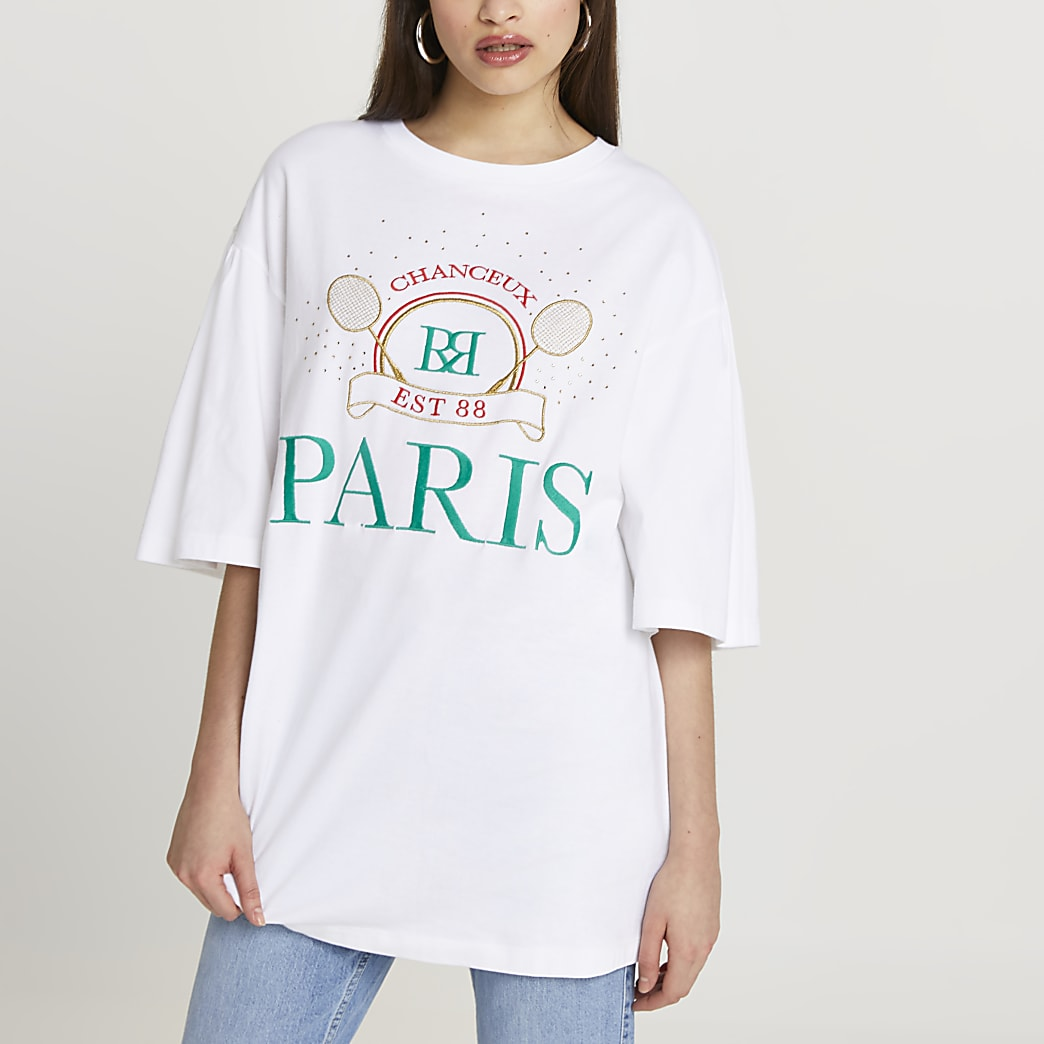 White 'Paris' oversized t-shirt