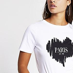 White 'Paris' sketchy heart  t-shirt