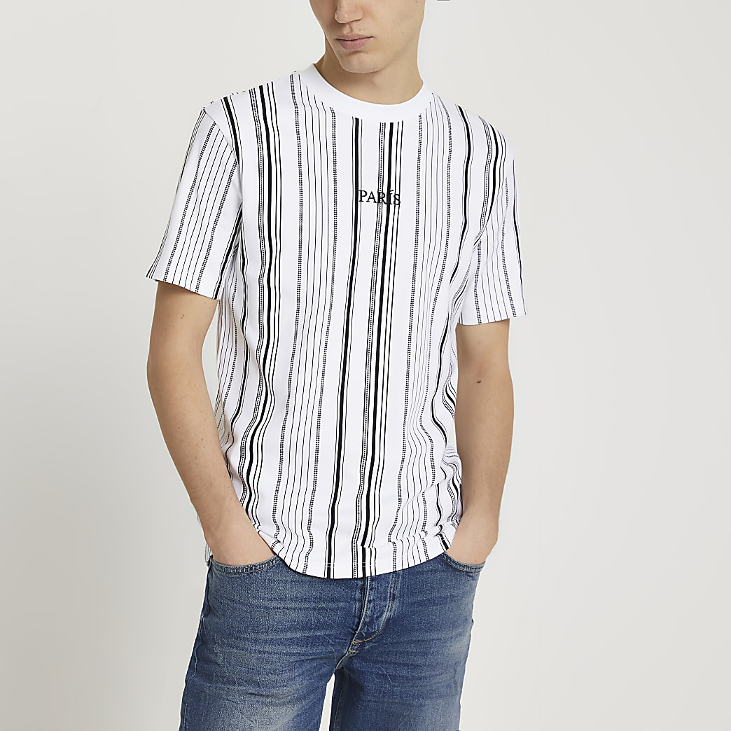 White 'Paris' stripe slim fit t-shirt