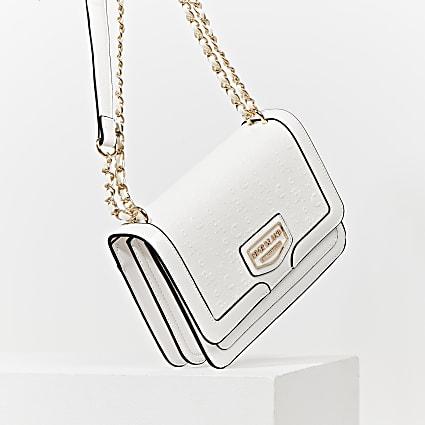 White patent embossed satchel bag