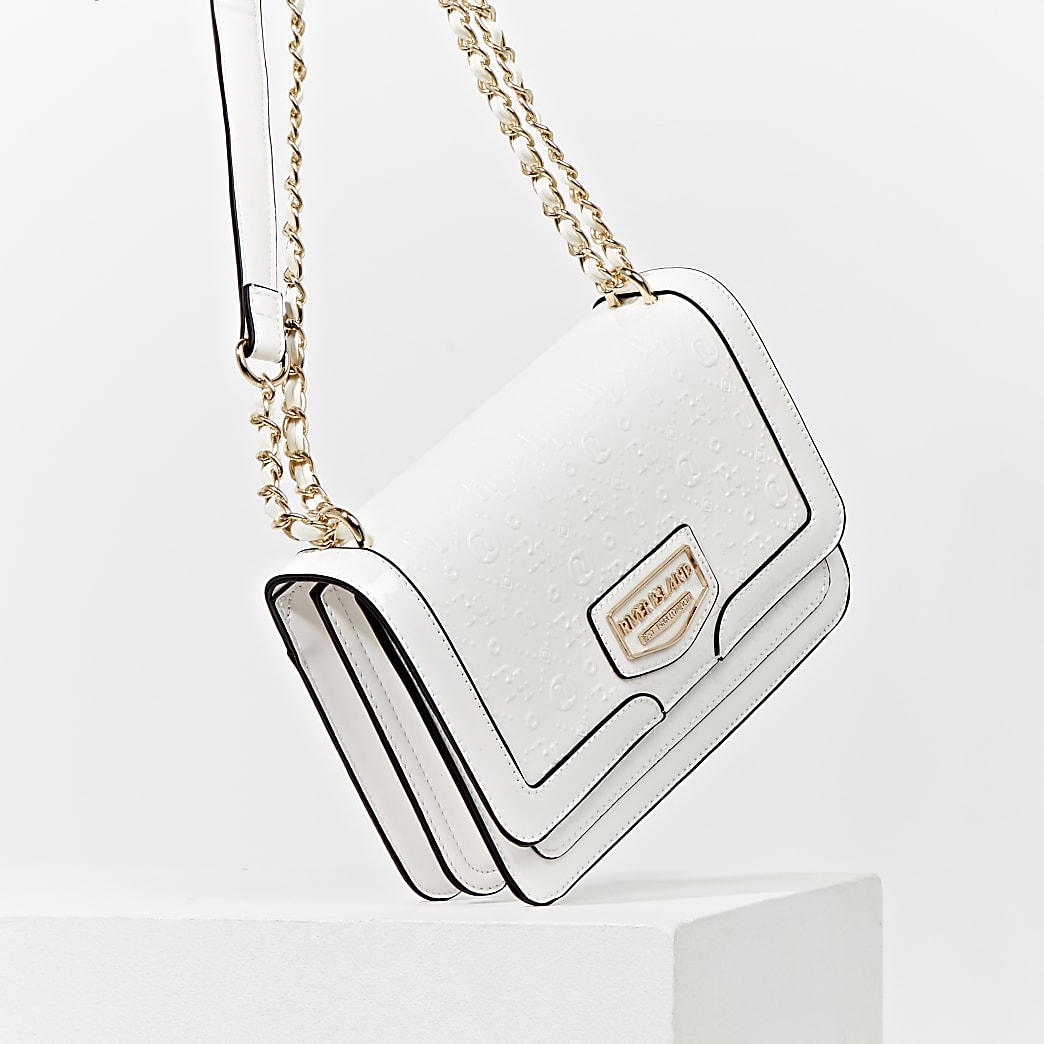 White patent embossed satchel bag