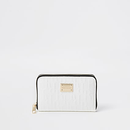 White patent RI embossed zip around purse