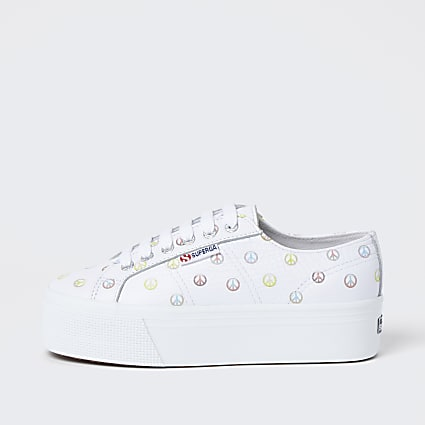 White peace print flatform trainers