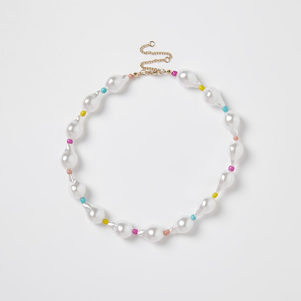 White pearl and bead collar necklace