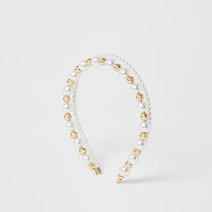 White pearl and bead double headband