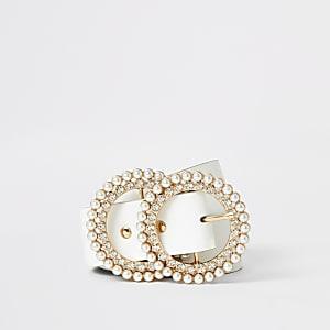Weißer  Gürtel mit doppeltem Ring, Perlen und Strass