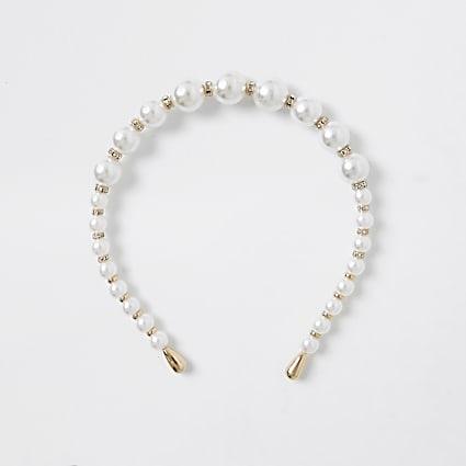 White pearl bead headband
