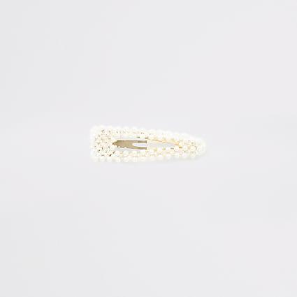 White pearl beaded hair clip