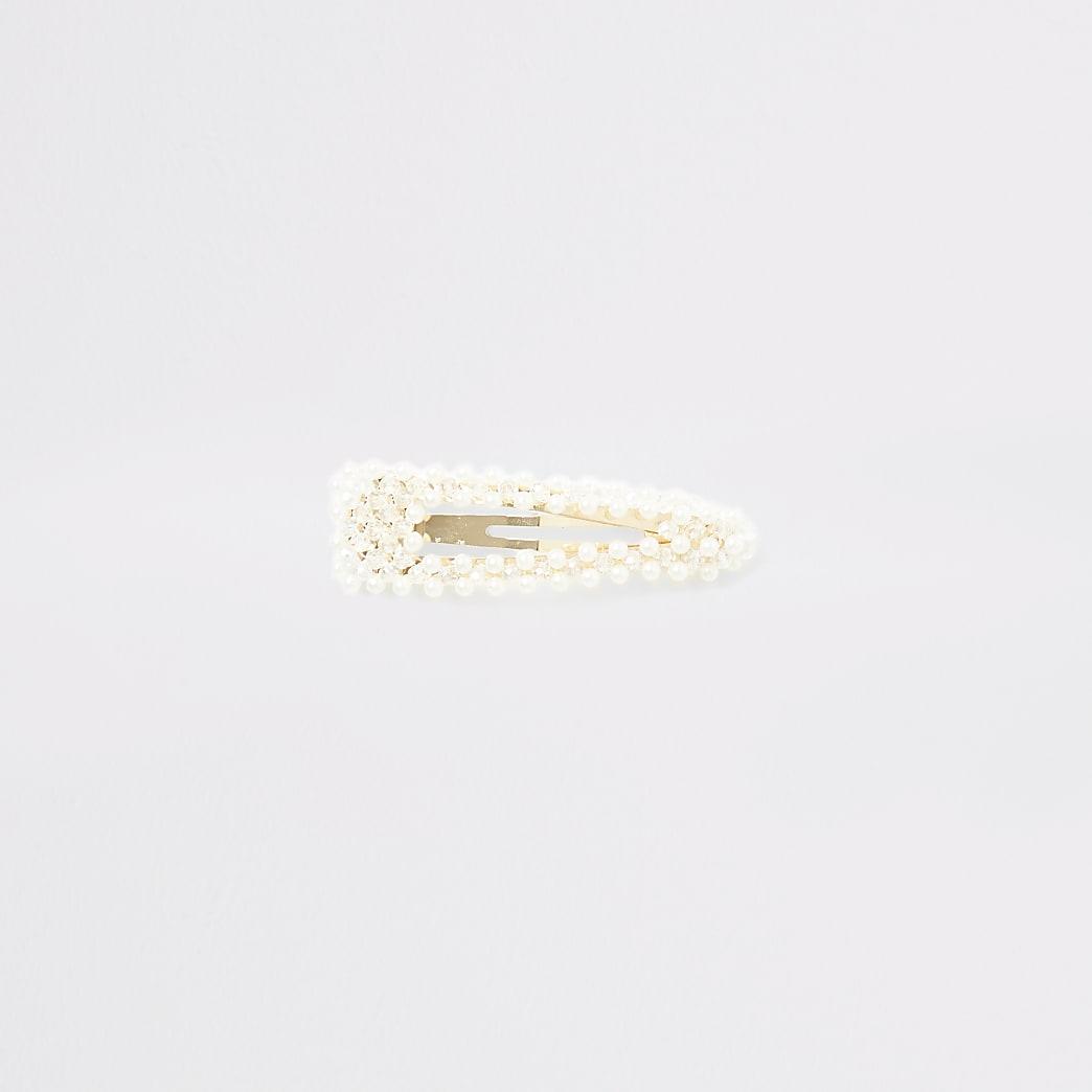 Witte haarband met parelen kralenborduursel