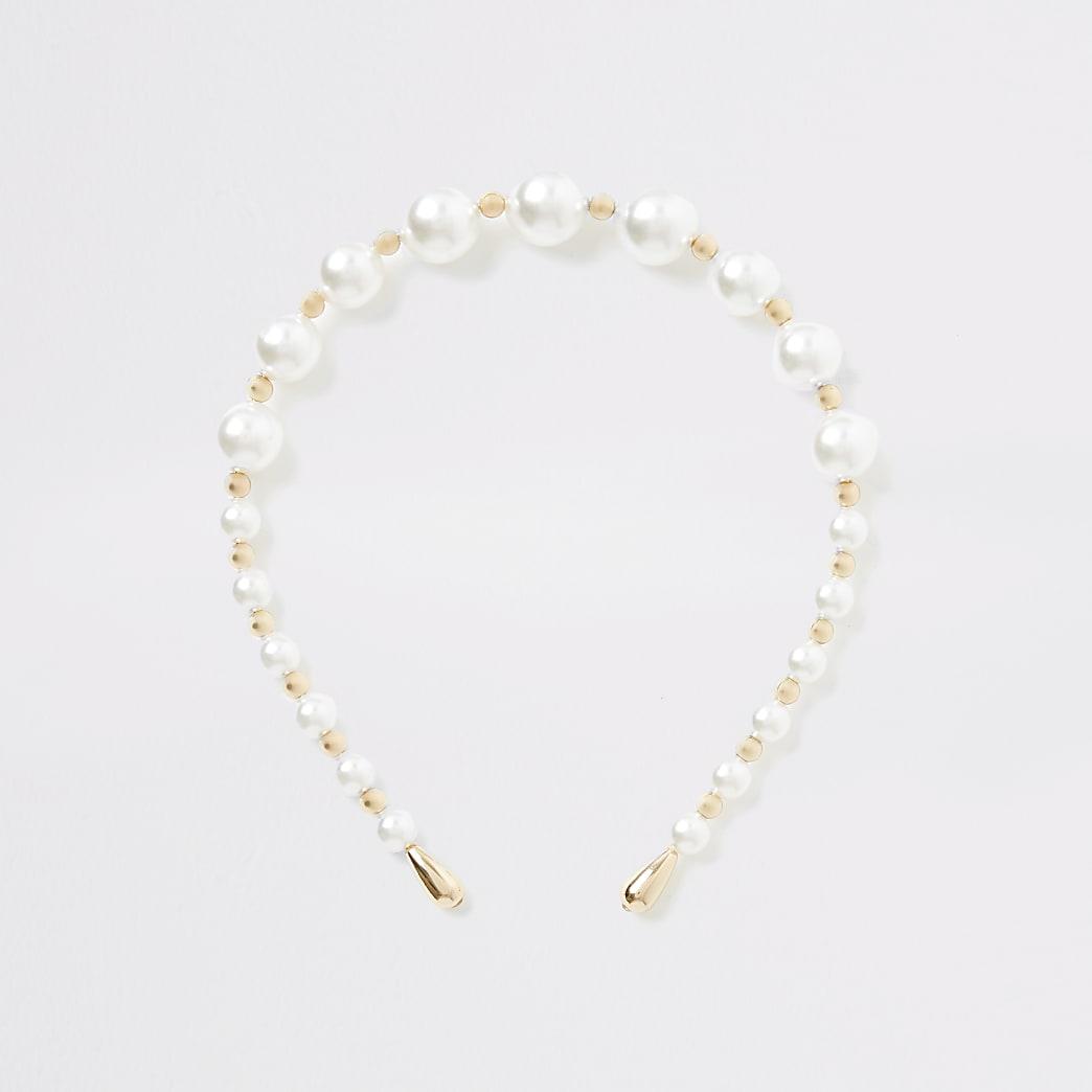 Haarband met witte parels en kralenborduursel