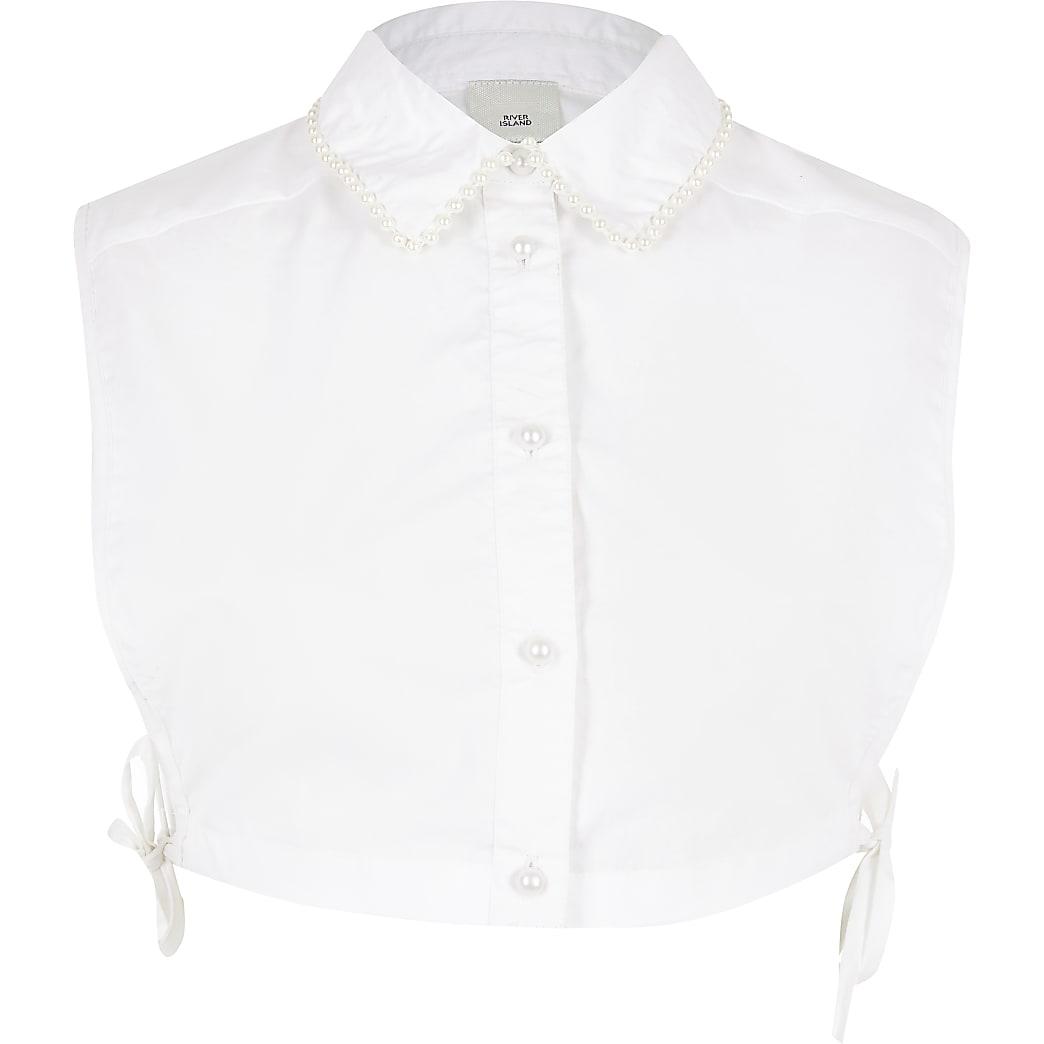 White pearl collar trim bib