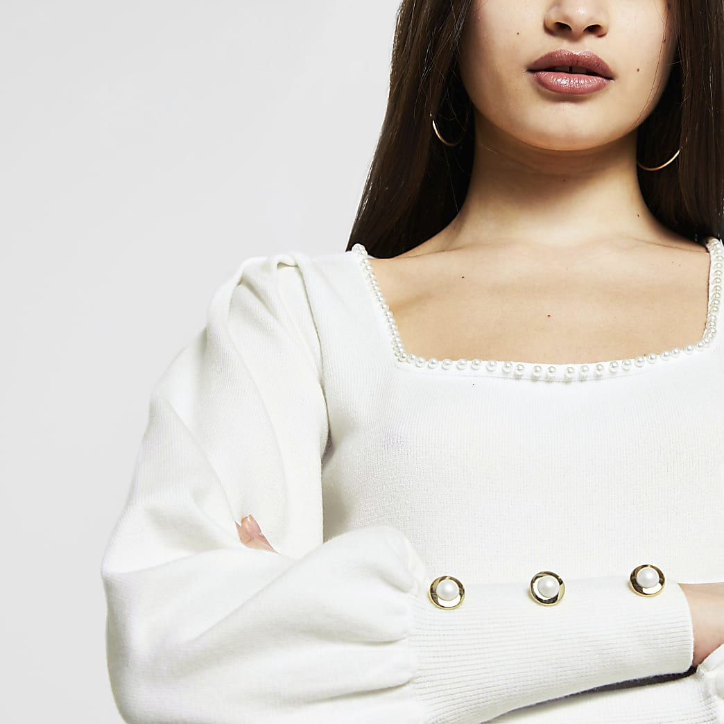 White pearl detail square neck jumper
