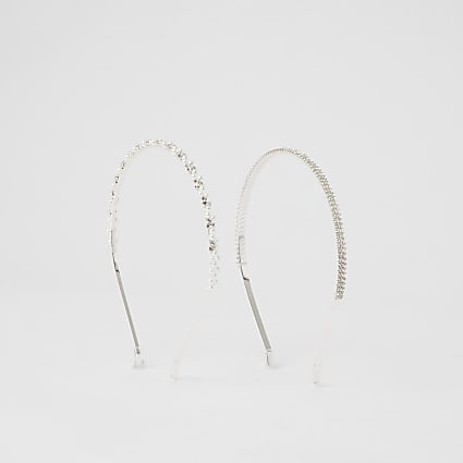 White pearl diamante headband 2 pack