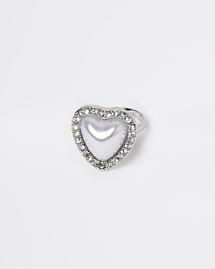 White pearl heart ring
