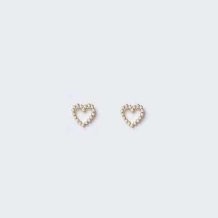 White pearl heart stud earrings