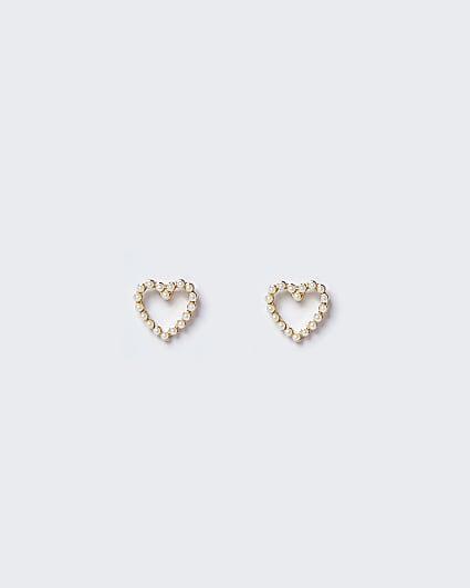 White pearl heart stud earrings