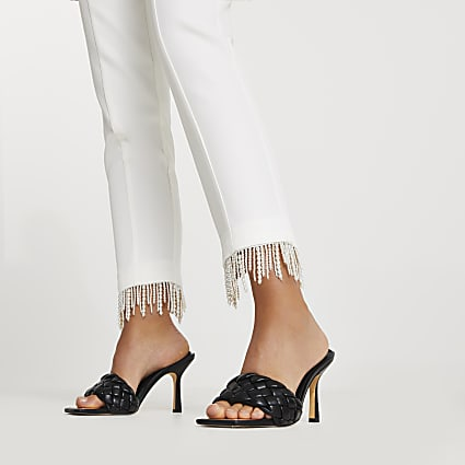 White pearl hem cigarette trousers