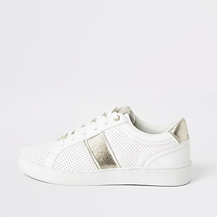 White perforated gold stripe lace-up trainers