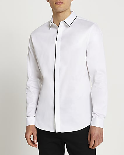 White piped sateen long sleeve shirt