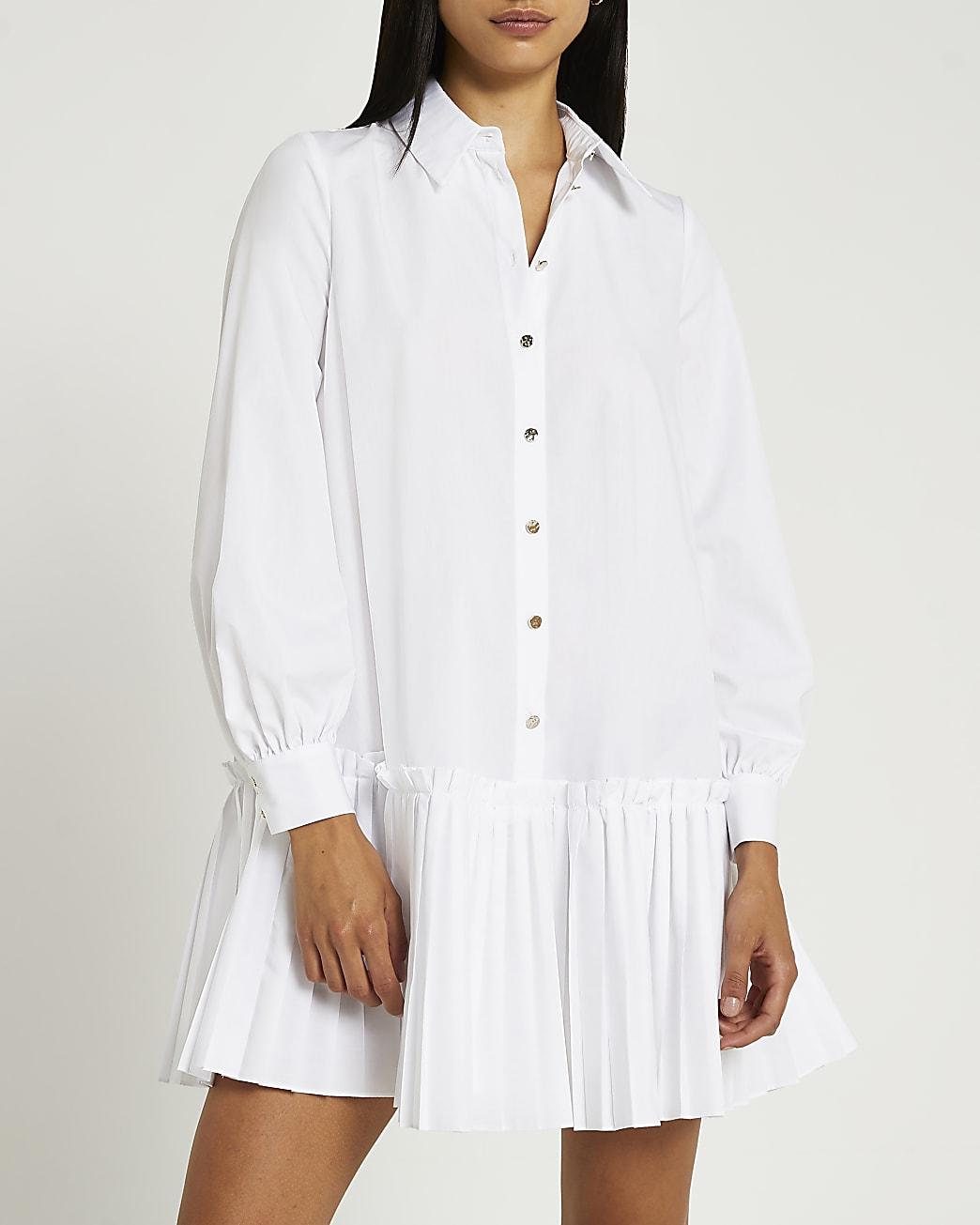 White pleated hem shirt dress