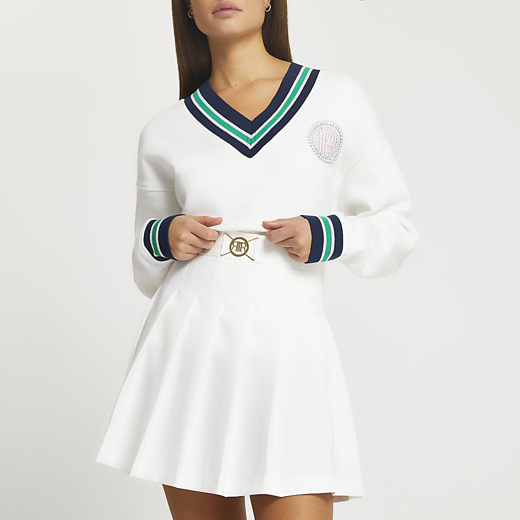 White pleated RI mini tennis skirt