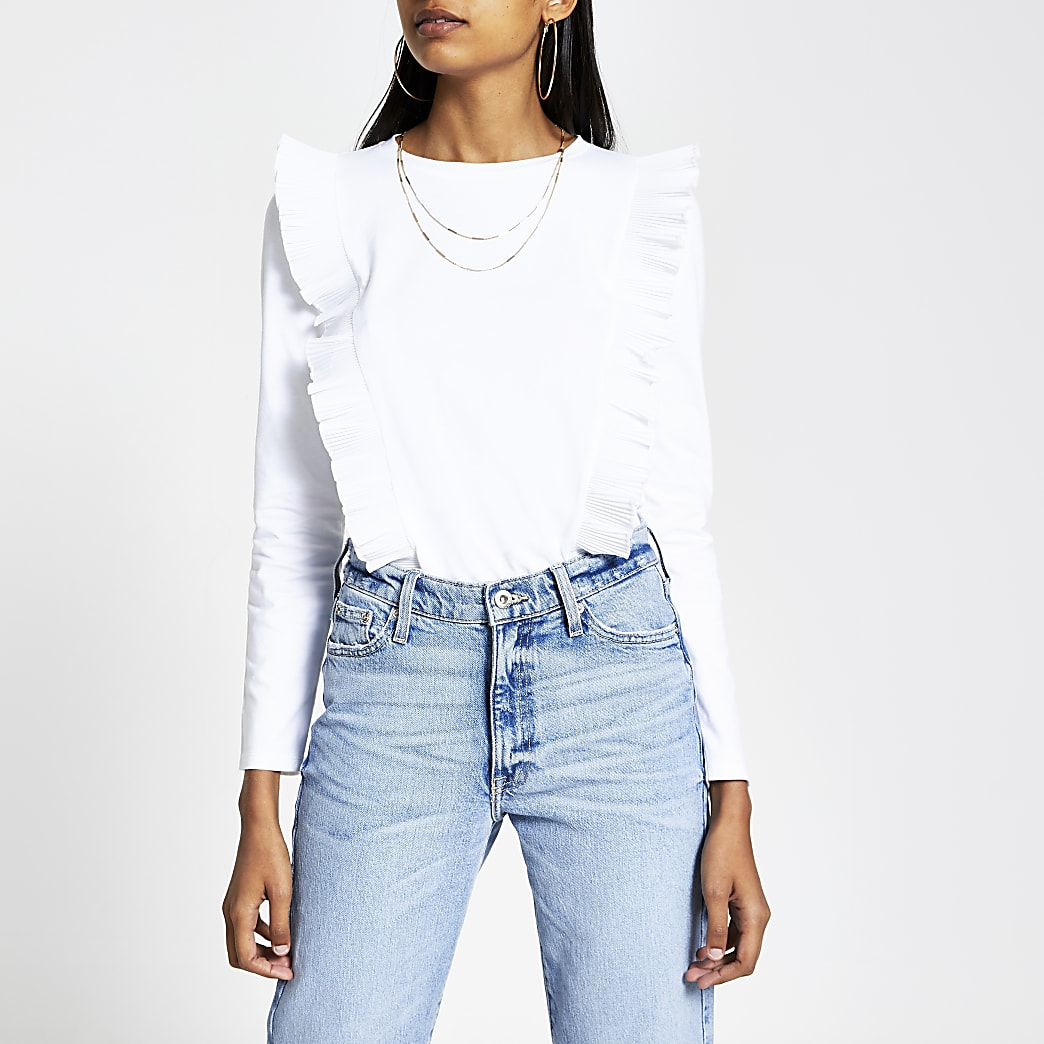 White pleated ruffle long sleeve top
