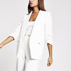 Witte blazer met zakken met details