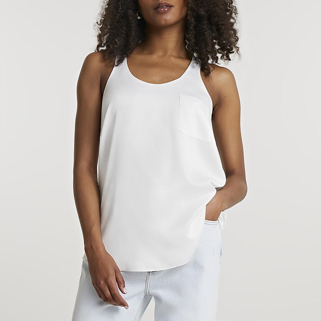 White pocket vest top