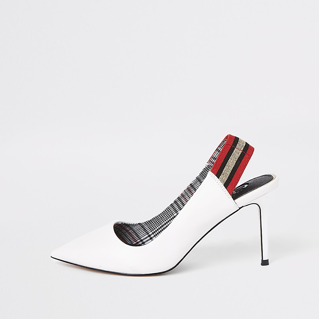 White pointed elastic court shoes