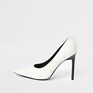White pointed toe skinny heel court shoes