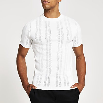 White pointelle knitted muscle fit t-shirt