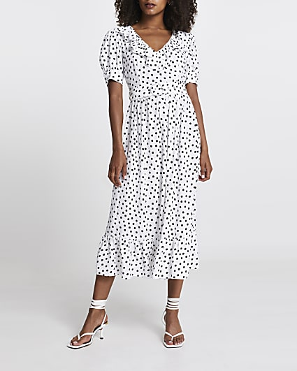 White polka dot belted midi dress