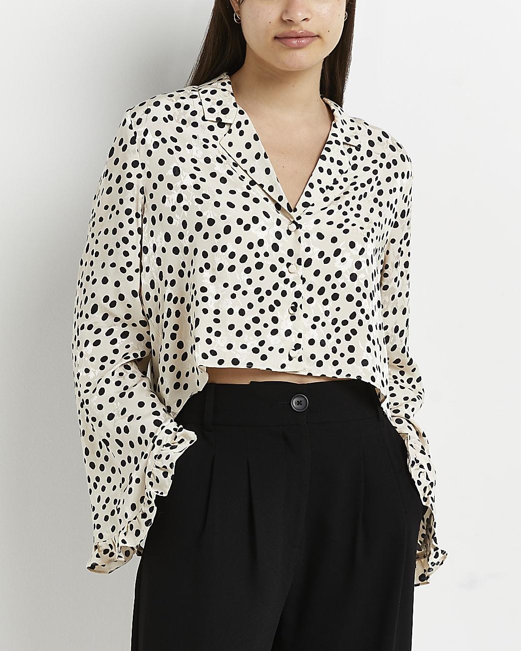 White polka dot cropped shirt