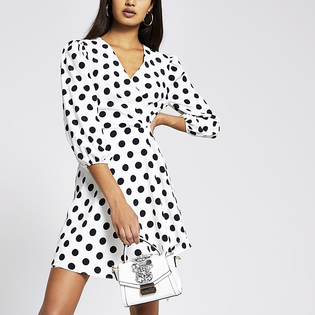 White Polka Dot mini wrap dress